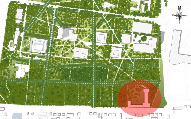 Op de kaart een prognose van hoe de zuidkant van de campus er over tien jaar uit zal zien. Het Grotius en nieuwbouw aan de TvA zijn ingetekend. Onder de rode stip het Berchmanianum. / Kaart: Karres & Brands Landschapsarchitecten