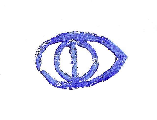 Afdruk van de stempel die Bisseling gebruikte om het derde oog bij bezoekers te plaatsen