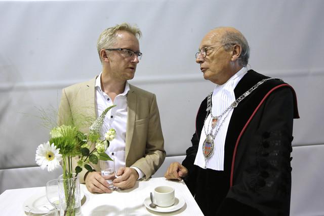 David van Speybroeck en (toen nog rector) Theo Engelen bij de opening van het academisch jaar. Foto: Gerard Verschooten