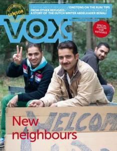Alaa (midden) sierde de cover van de Vox voor vluchtelingen